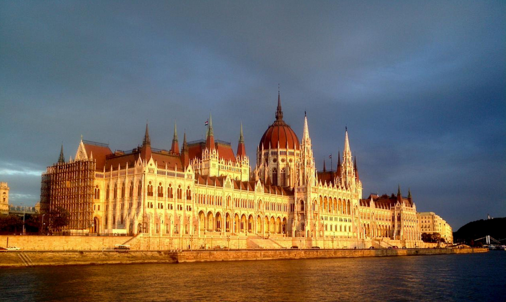 Hungarian Parliament by the river Danube photo by Vic Sharp