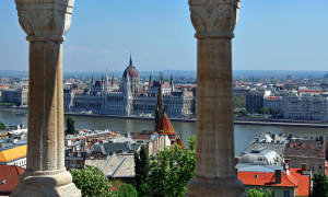 Hungarian Parliament from the Fishermans Bastion - photo Dennis Jarvis