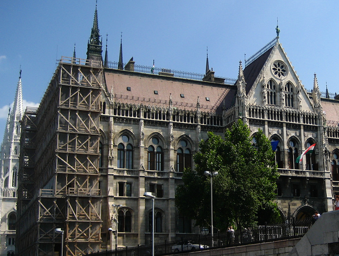 Hungarian Parliament scaffolded